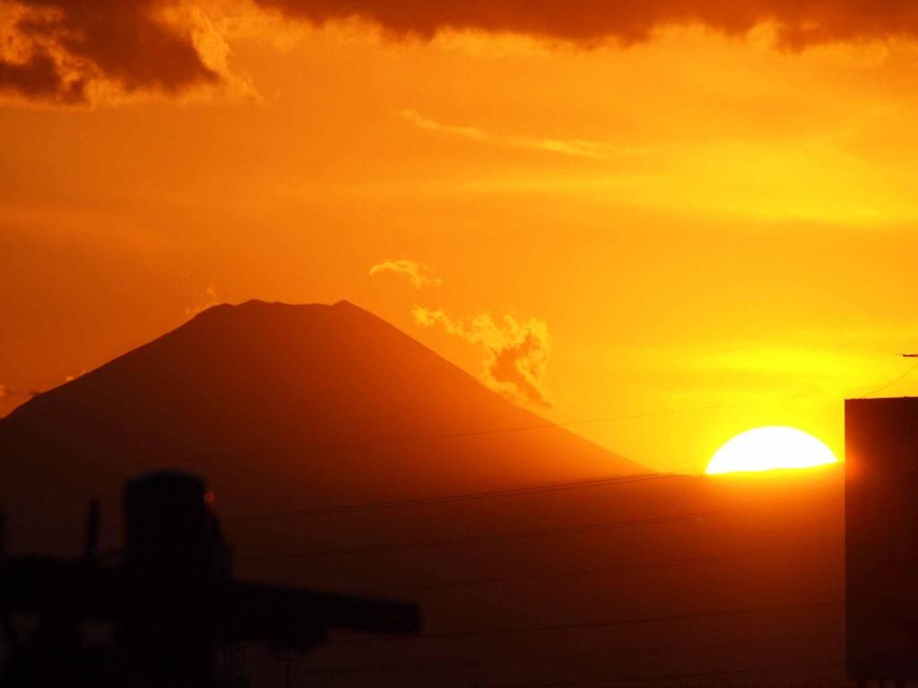 2017年1月1日の富士山の夕焼け