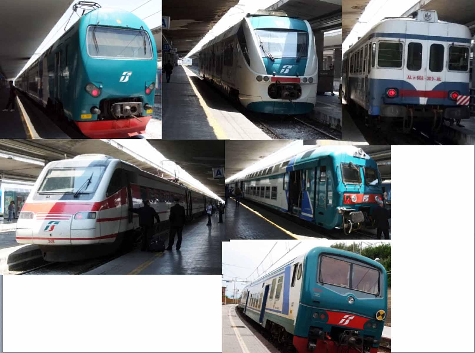 ナポリ中央駅で出会った列車たちです。
